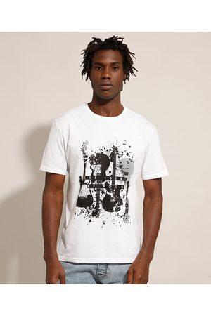"""Clockhouse Camiseta de Algodão Let There Be Rock"""" Manga Curta Gola Careca Branca"""""""