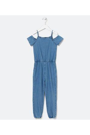 Fuzarka (5 a 14 anos) Macacão Infantil Longo em Jeans com Alcinhas - Tam 5 a 14 anos | | | 9-10