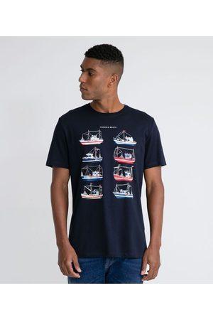 Marfinno Camiseta Manga Curta em Algodão Peruano com Estampa Barcos | | | M