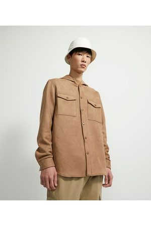 Request Camisa Manga Longa Overshirt em Fake Suede       P