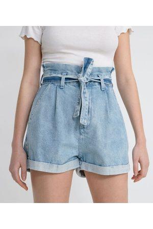 Blue Steel Short Clochard Jeans com Cinto Faixa e Bolso Faca       36