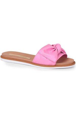 Moleca Tamanco Rasteiro Feminino Laço Camurça Pink