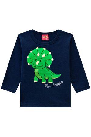 Kyly Menino Camisolas de Manga Curta - Camiseta Infantil Masculina Marinho