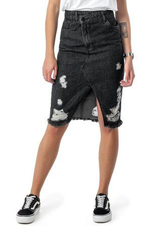 ENFIM Mulher Saia Midi - Saia Preta Midi Classic Jeans