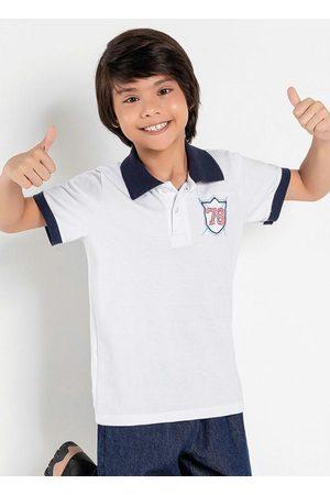 Kolormagic Camisa Polo Infantil Branca com Gola Marinho
