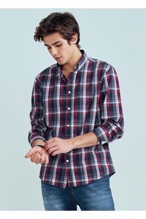 ENFIM Camisa Estampada Slim Xadrez em Tricoline