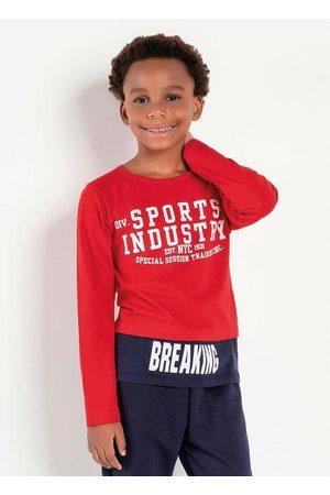 Kolormagic Menino Camisa Manga Comprida - Blusa Infantil com Sobreposição Vermelha e Azul