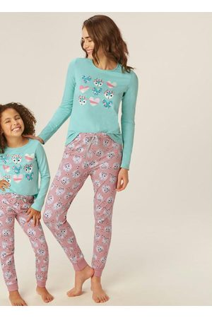 Malwee Mulher Pijamas - Pijama Turquesa Raposa Adulto Mãe
