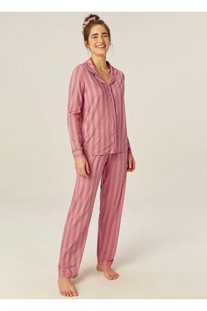 Malwee Mulher Pijamas - Pijama Listrado Clássico em Viscose