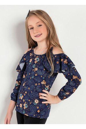 Kolormagic Blusa Infantil Azul Floral com Ombros Vazados