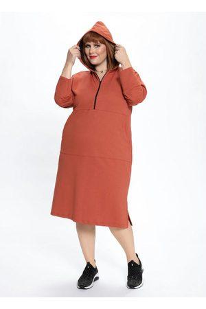 Mink Vestido Plus Size Moletom com Capuz Telha
