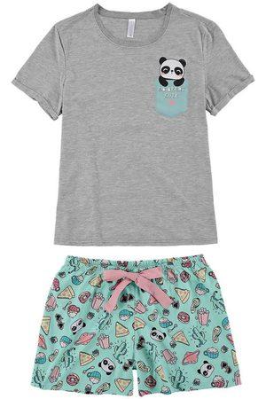 Malwee Mulher Pijamas - Pijama Mescla Panda Adulto