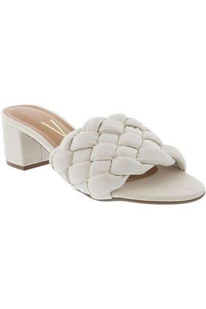 VIZZANO Mulher Sapato Mule - Tamanco Salto Bloco com Tressê Off White 6