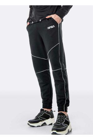 ENFIM Calça Preta Jogging Nasa® em Moletom