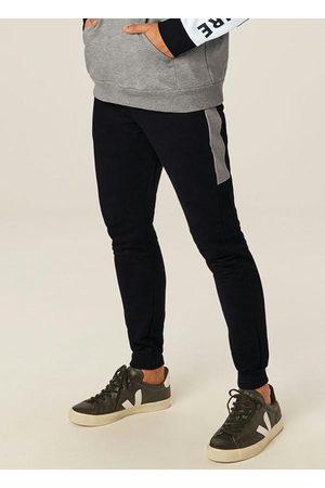Malwee Homem Sapatos Esporte - Calça Preta Jogging em Moletom com Recorte