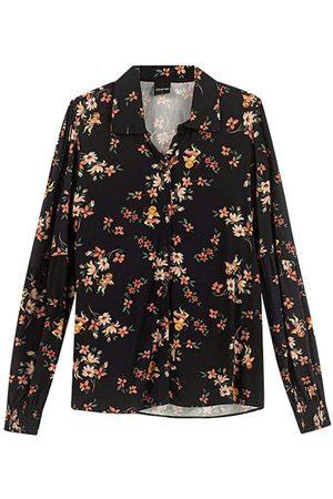 ENFIM Mulher Camisete & Outerwear - Camisete Preta Floral em Viscose