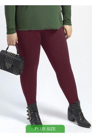 Cativa Plus Size Calça Estilo Legging em Elástico Bordô