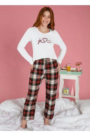 Alma Dolce Pijama Longo com Estampa Frontal e Xadrez