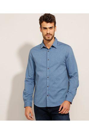 AL Contemporâneo Camisa Comfort de Algodão Estampada de Poá Manga Longa Azul Marinho