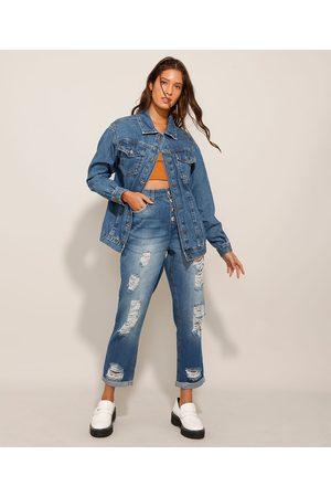 JeansWear Mulher Calça Cintura Alta - Calça Mom Cropped Jeans Cintura Super Alta Médio