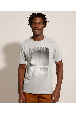 """Suncoast Homem Camisolas de Manga Curta - Camiseta Paradise"""" Manga Curta Gola Careca Mescla Claro"""""""
