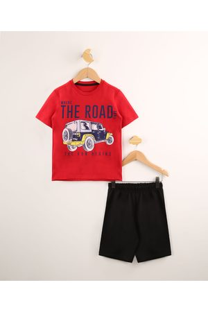 "PALOMINO Menino Sets - Conjunto Infantil Camiseta Manga Curta The road"" Vermelha + Bermuda Preta"""