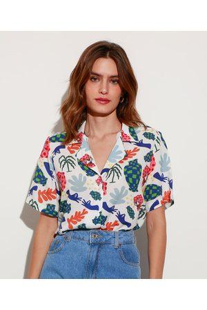 Mindse7 Camisa Longa de Viscose Estampada Lorena Colors Manga Curta Mindset Lorena Moreira Branca