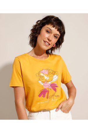 """YESSICA Mulher Camiseta - Camiseta de Algodão Hope Sweet Hope"""" Manga Curta Decote Redondo Mostarda"""""""
