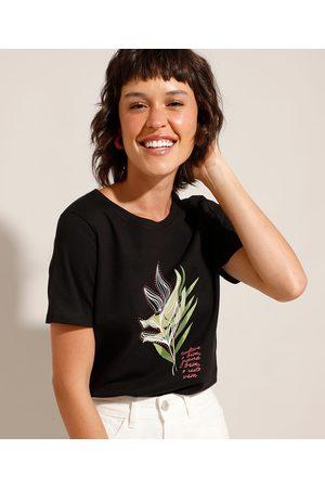 """YESSICA Mulher Camiseta - Camiseta de Algodão Cultive o Bem"""" Manga Curta Decote Redondo """""""