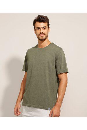 Basics Homem Camisolas de Manga Curta - Camiseta Básica Manga Curta Gola Careca Militar