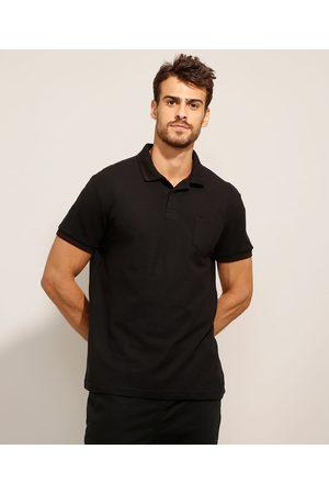 Basics Homem Camisa Pólo - Polo Comfort de Piquet Básica com Bolso Manga Curta Preta