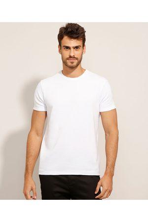 AL Contemporâneo Camiseta Slim Texturizada Manga Curta Gola Careca Branca