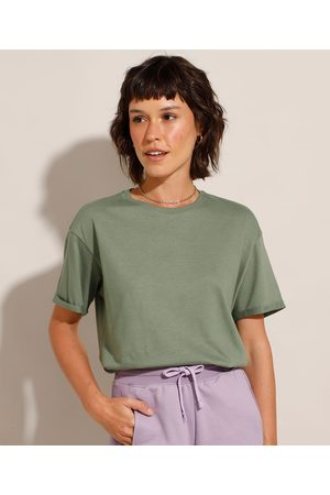 Basics Mulher Camiseta - Camiseta Longa Básica Manga Curta Gola Careca