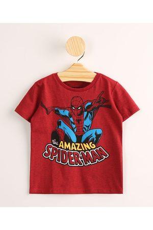 Disney Camiseta Infantil Homem Aranha Manga Curta Vermelha