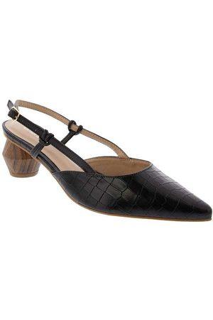 Gabriela Mulher Sapato Mule - Mule Salto Geométrico Textura Croco