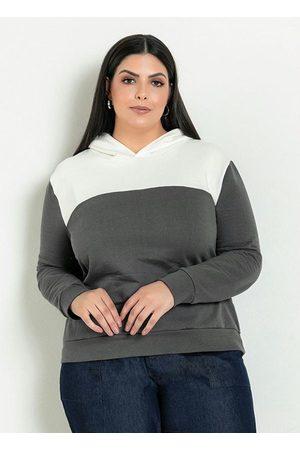 Marguerite Mulher Casacos - Casaco Chumbo/Off White com Capuz Plus Size