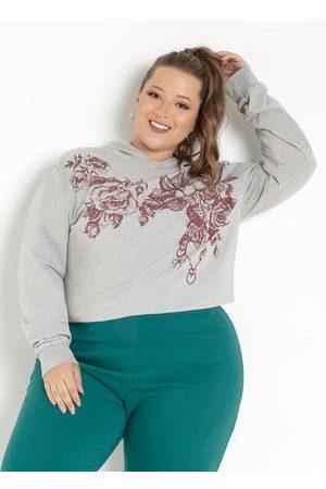 Marguerite Casaco Mescla com Capuz e Estampa Plus Size