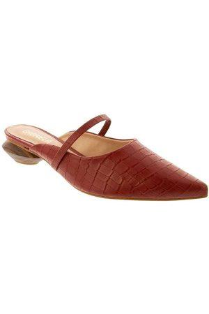 Gabriela Mulher Sapato Mule - Mule Salto Geométrico Textura Croco Caram