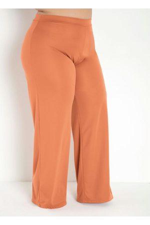 Marguerite Calça Caramelo Pantalona com Elástico Plus Size