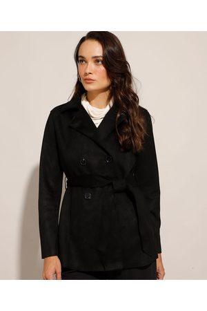 City Mulher Trench Coat - Casaco Trench Coat Transpassado de Suede com Faixa para Amarrar