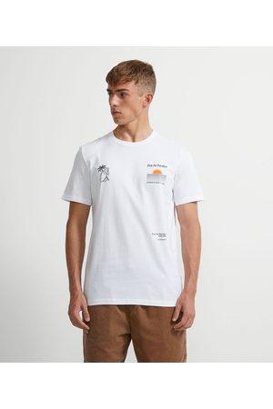 Ripping Camiseta Manga Curta Algodão Estampa Pôr do Sol, Mão e Coqueiro | | | P
