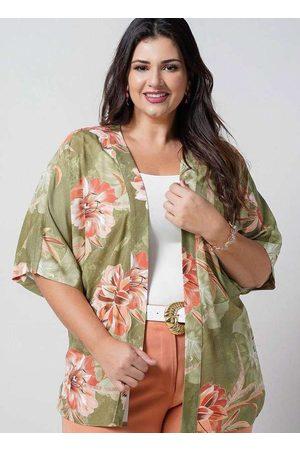 Newumbi Kimono Curto Almaria Plus Size New Umbi Estampado