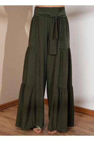 QUINTESS Mulher Calça Cintura Alta - Calça Pantalona Cintura Alta com Franzidos
