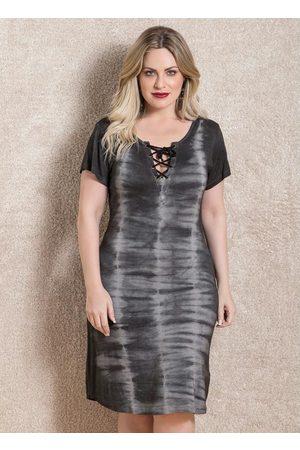 QUINTESS Mulher Vestidos - Vestido Tie Dye com Amarração Frontal