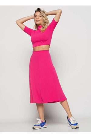 Salvatore Fashion Saia Midi Godê Canelada Pink