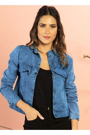 QUINTESS Mulher Jaqueta Jeans - Jaqueta Jeans Médio com Babados na Pala