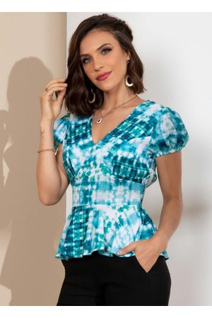 QUINTESS Mulher Blusas de Manga Curta - Blusa Tie Dye Acinturada com Botões