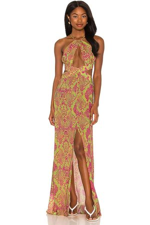 Luli Fama Halter Cut Out Dress in Green,Fuchsia. - size L (also in M, S, XS)