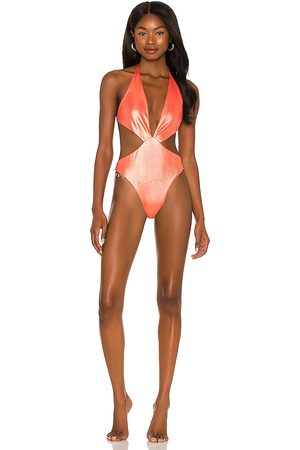 Luli Fama Deep V One Piece Bikini in Burnt Orange. - size L (also in M, S, XS)