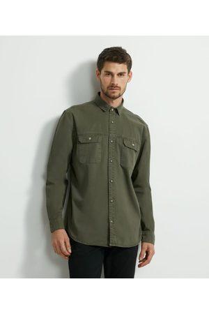 Marfinno Homem Camisa Formal - Camisa Lisa em Sarja Pesada       M